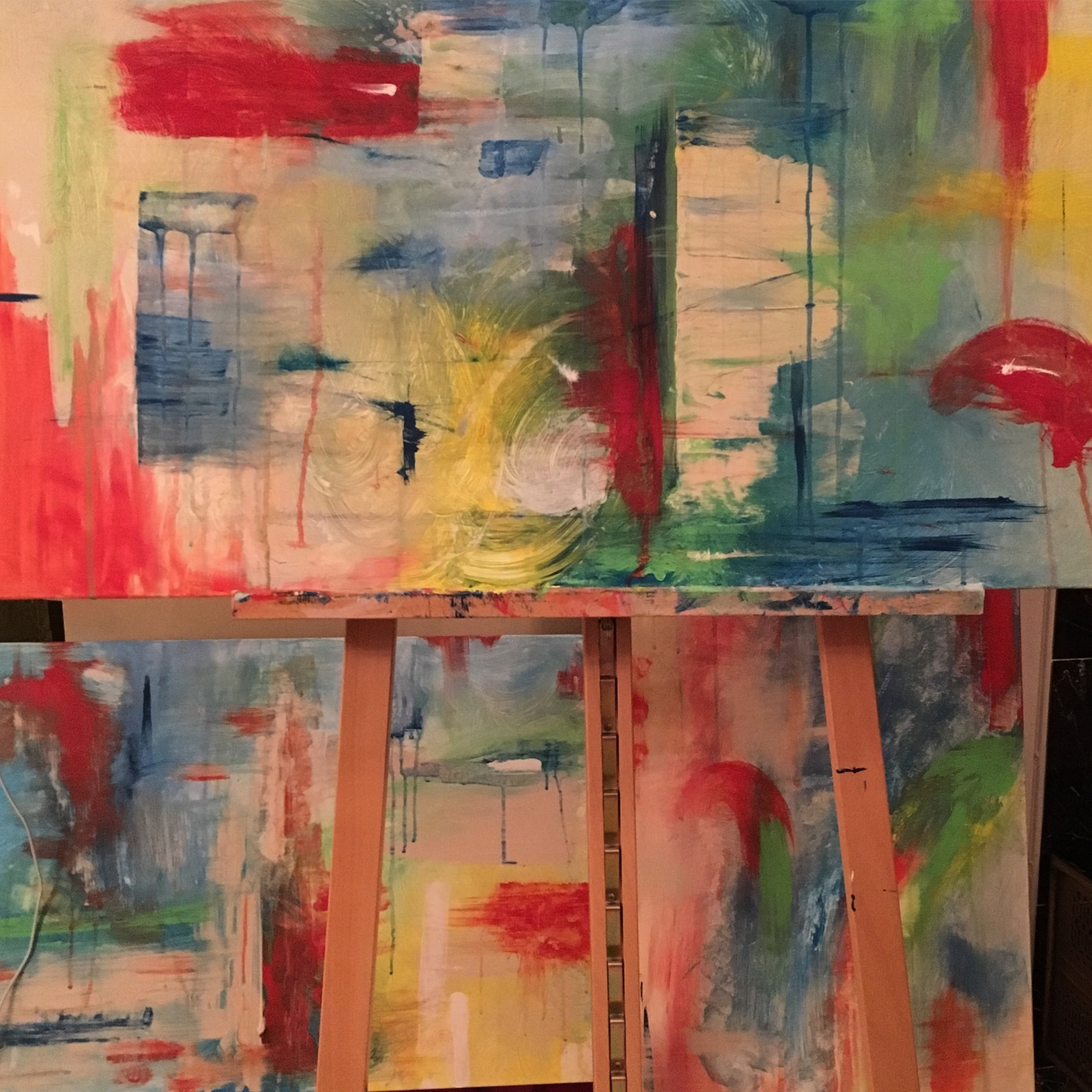 Abstract triptych in tropical colors