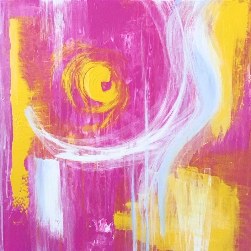Pink, yellow, white, and light blue abstract